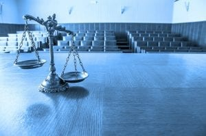 courtroom with scales of justice