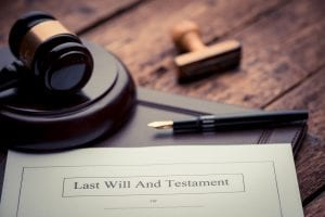 last will with gavel and stamp